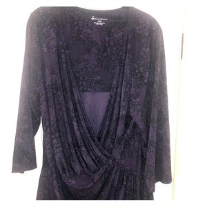 Sexy purple and black lace wrap blouse